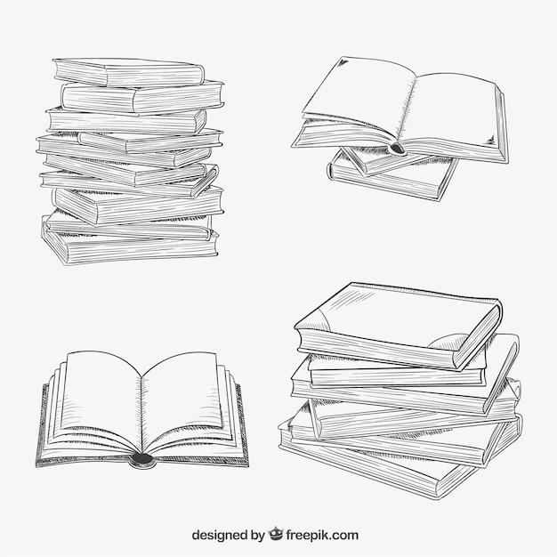 Livres empilés dans le style tiré par la main Vecteur gratuit