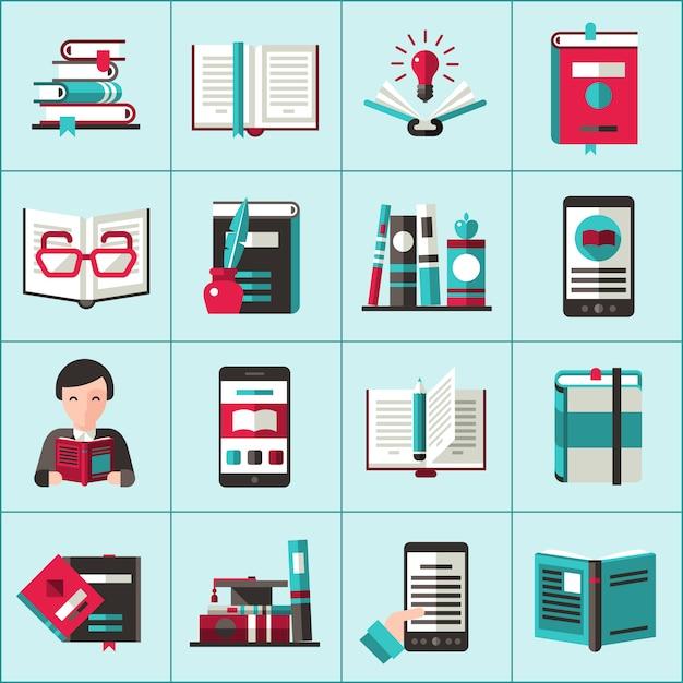 Livres icons set Vecteur gratuit