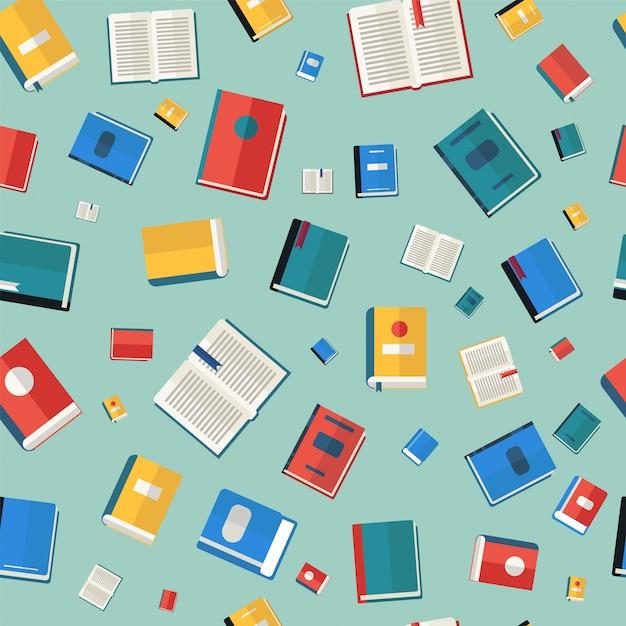 Livres modèle sans couture. différents livres colorés Vecteur Premium
