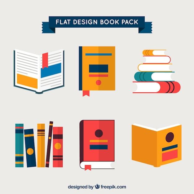 Livres pack dans design plat Vecteur Premium