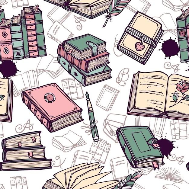 Livres seamless pattern Vecteur gratuit
