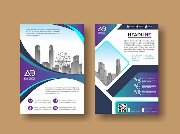 Livret de rapport annuel de magazine avec image de bâtiment Vecteur Premium