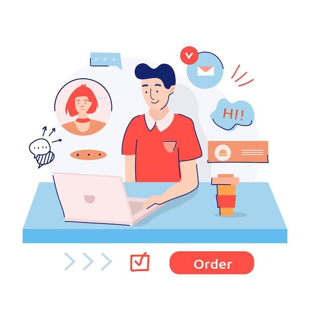 Livreur De Nourriture Prenant Une Commande Sur Internet Pendant La Quarantaine. Vecteur Premium