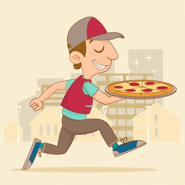 Livreur de pizza Vecteur Premium