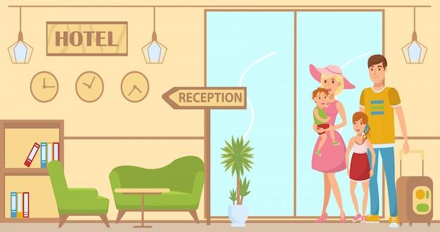 Lobby sur la conception intérieure de la réception Vecteur Premium