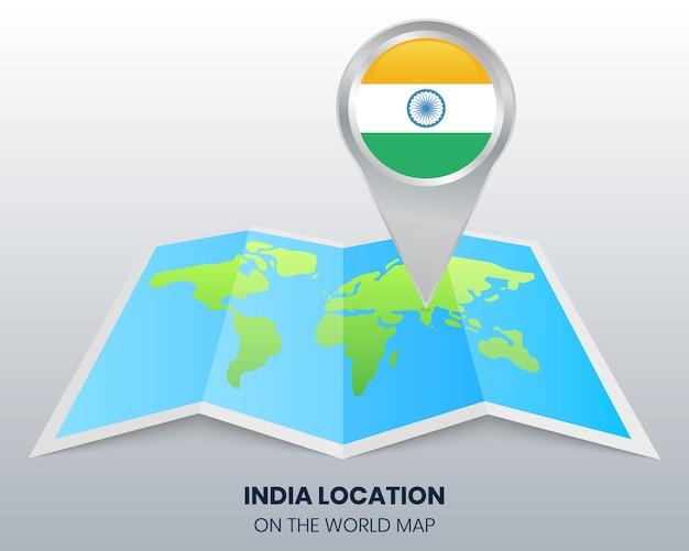 Localisation De L'inde Sur La Carte Du Monde Vecteur Premium