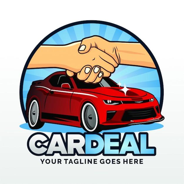 Location de voitures deal logo template design vector Vecteur Premium