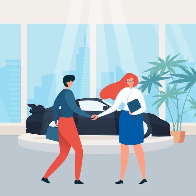 Location De Voitures Showroom Buying Car Flat Vecteur Premium