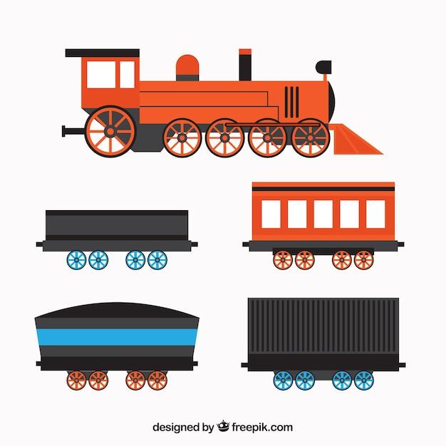 Locomotive plate à quatre wagons Vecteur gratuit