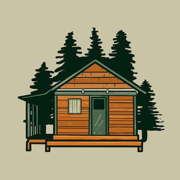 Log cabin house vecteur de dessin animé. Vecteur Premium