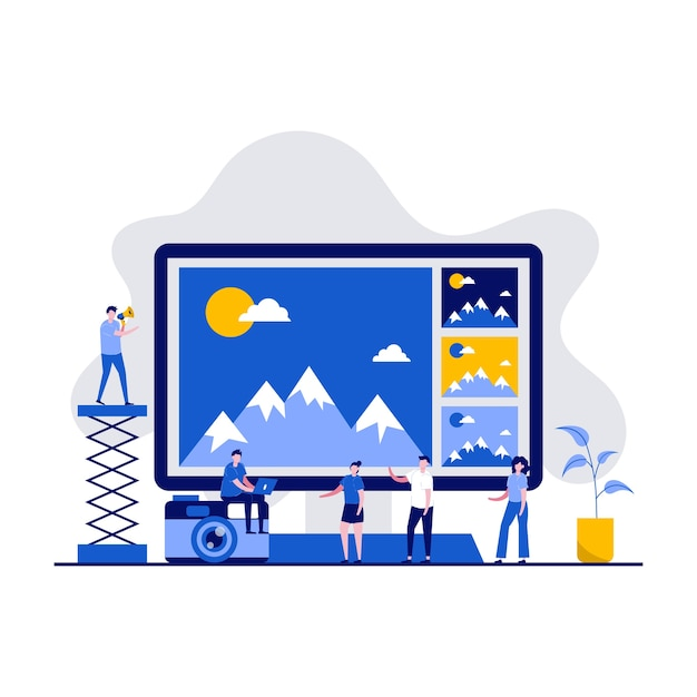 Logiciel De Photographie Et Concept D'application D'édition Avec Des Personnages. Service De Retouche Photo En Ligne. Vecteur Premium