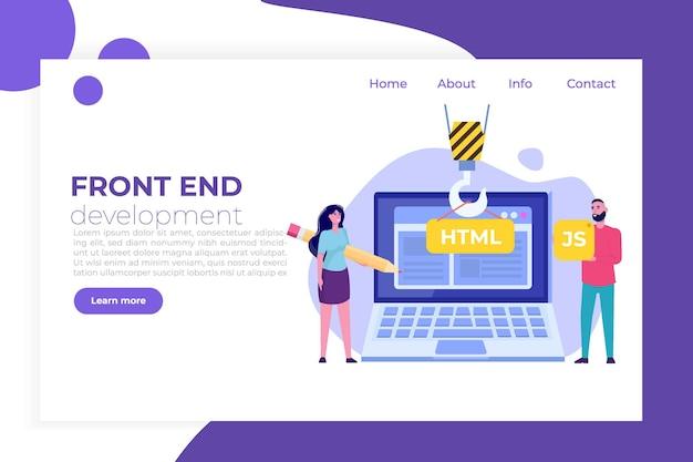 Logiciel De Programmation Ou Application, Concept De Développement Web Et Frontal. Vecteur Premium