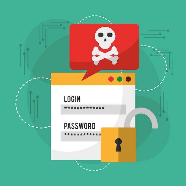 Login Mot De Passe Danger Notification Déverrouiller L'information Vecteur Premium