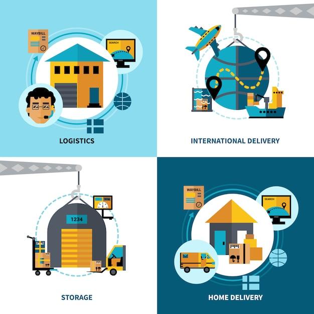 Logistique Concept 2x2 Vecteur gratuit