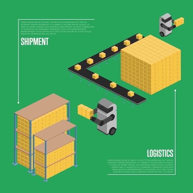 Logistique D'expédition Isométrique Vecteur Premium