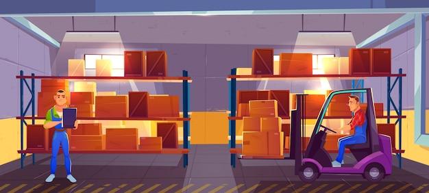 Logistique, intérieur de l'entrepôt avec chariot élévateur et inspecteur vérifiant la liste des marchandises livrées Vecteur gratuit