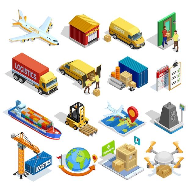 Logistique Isometric Icons Set Vecteur gratuit