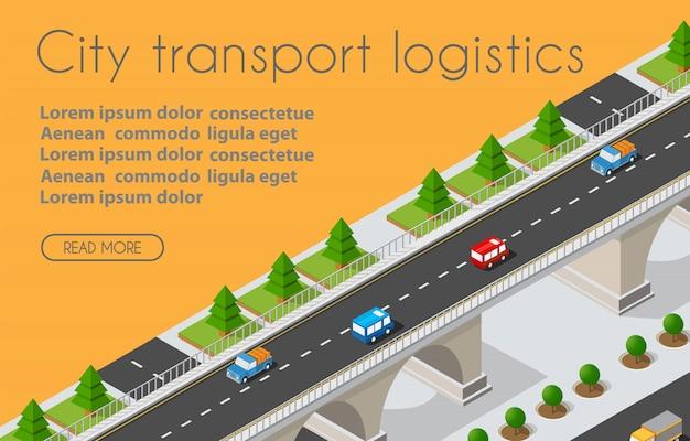 Logistique De Transport 3d Ville Isométrique Illustrée Vecteur Premium