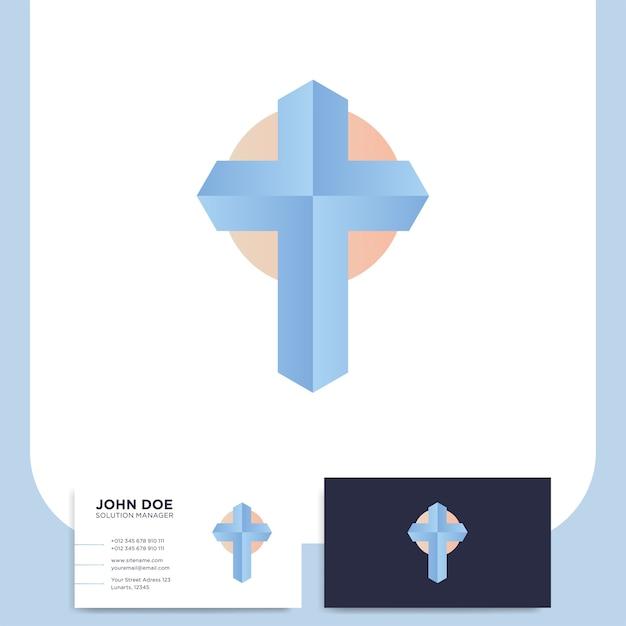 Logo 3d de l'église moderne en croix Vecteur Premium