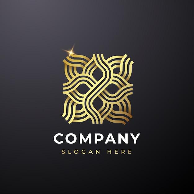Logo abstrait fleur d'or Vecteur Premium