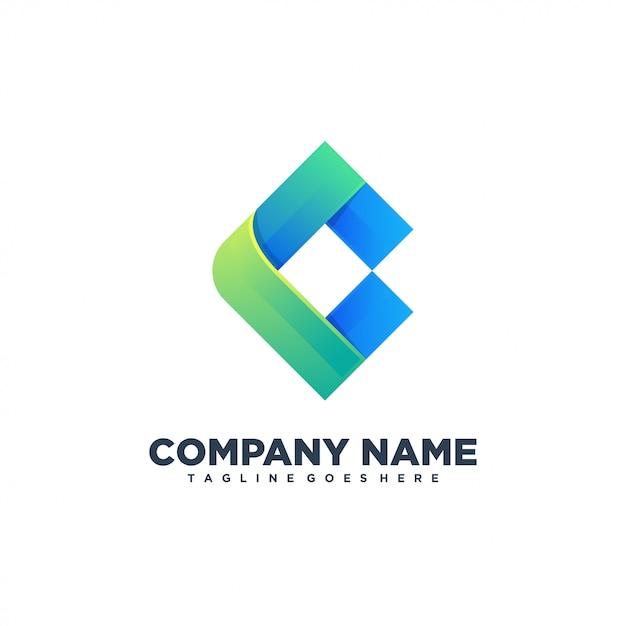 C Logo Abstrait Initial Vecteur Premium