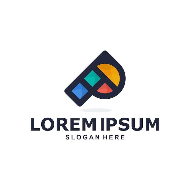 Logo Abstrait Lettre P Coloré Vecteur Premium