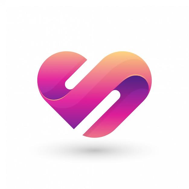 Logo abstrait lettre s amour Vecteur Premium
