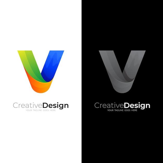 Logo Abstrait Avec Modèle De Conception Lettre V, Icônes Colorées 3d Vecteur Premium