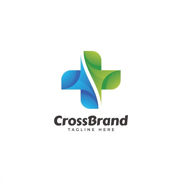 Logo abstrait moderne en croix Vecteur Premium