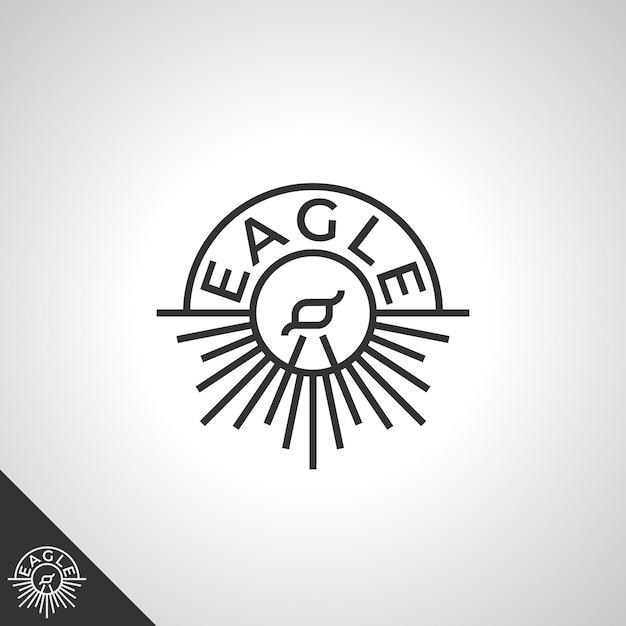 Logo De L'aigle Avec Concept D'art En Ligne Vecteur Premium