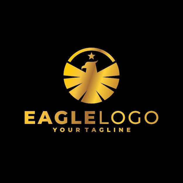 Logo D'aigle D'or Vecteur Premium