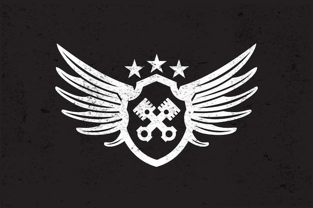 Logo de l'aile automobile. Vecteur Premium