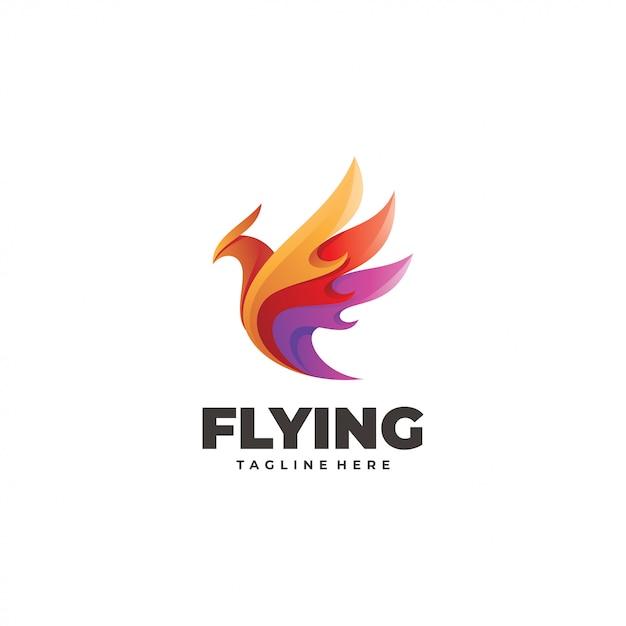 Logo D'aile D'oiseau Volant Abstrait Coloré Vecteur Premium