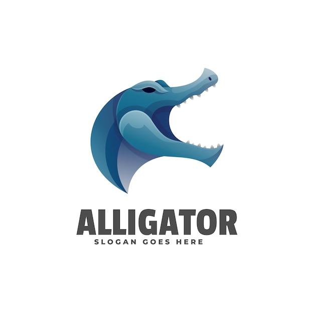 Logo Alligator Gradient Style Coloré. Vecteur Premium