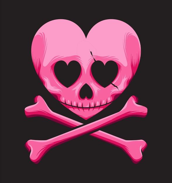Logo d'amour de crâne Vecteur Premium