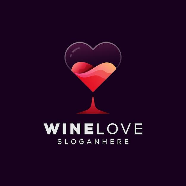 Logo D'amour De Vin, Vin En Verre Avec Modèle De Logo D'amour Vecteur Premium