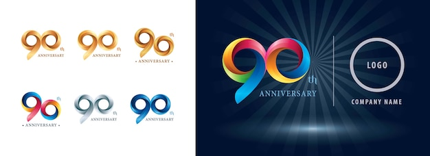 Logo D'anniversaire De Célébration De Quatre-vingt-dix Ans, Origami Stylisé Lettres De Nombre, Logo De Rubans De Torsion Vecteur Premium