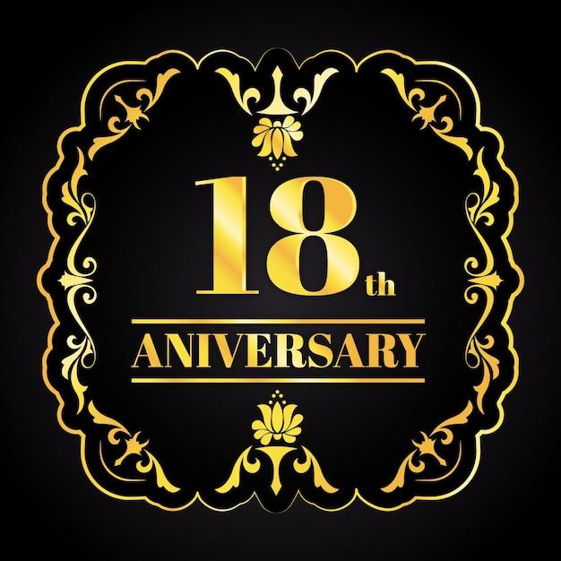 Logo D'anniversaire D'or De Luxe Vecteur gratuit