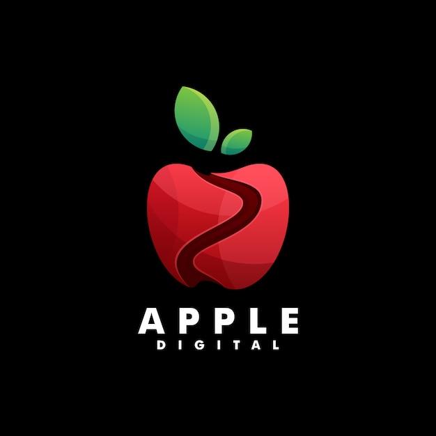 Logo Apple Gradient Style Coloré. Vecteur Premium