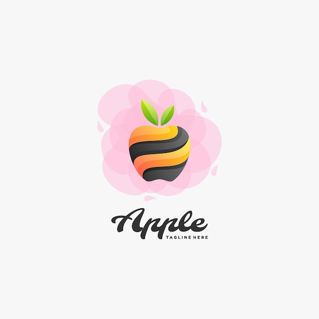 Logo Apple Gradient Style Coloré. Vecteur Premium