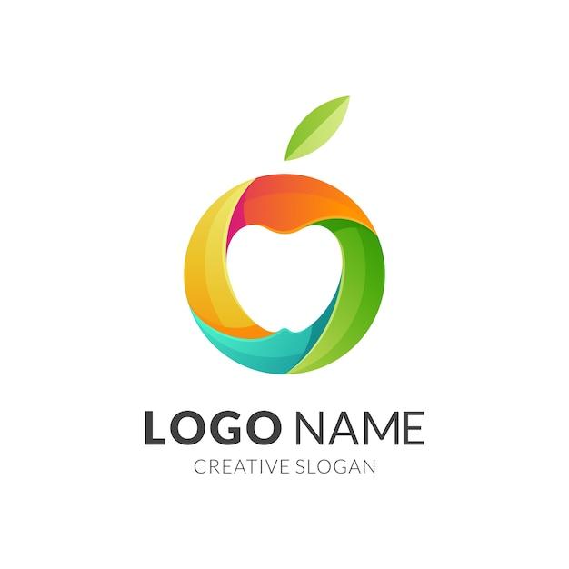 Logo Apple, Style De Logo Moderne Dans Des Couleurs Vibrantes Dégradées Vecteur Premium
