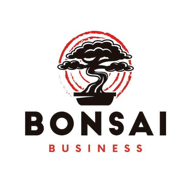 Logo D'arbre Bonsaï Vecteur Premium
