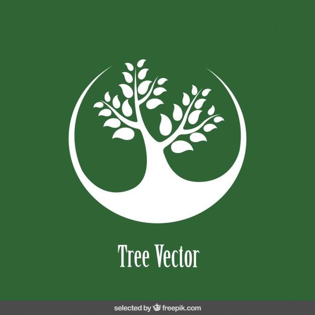 Logo Avec L'arbre Silhouette Vecteur gratuit