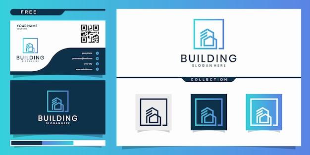 Logo D'architecture De Bâtiment, Logo Immobilier Minimaliste, Modèle De Conception De Logo De Bâtiment De Luxe. Création De Logo Et Carte De Visite Vecteur Premium
