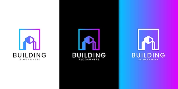 Logo D'architecture De Bâtiment, Logo Immobilier Minimaliste, Modèle De Conception De Logo De Bâtiment De Luxe Vecteur Premium