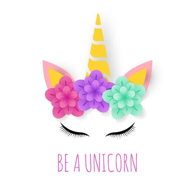 Logo d'art de papier de licorne Vecteur Premium