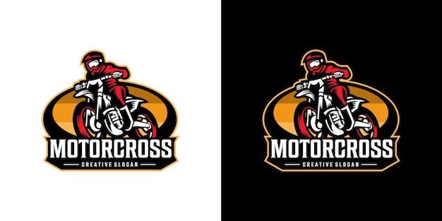 Logo D'aventure De Moto De Sport De Motocross Génial Vecteur Premium