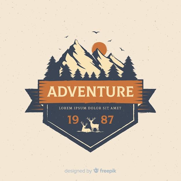 Logo D'aventure Vintage Vecteur Premium