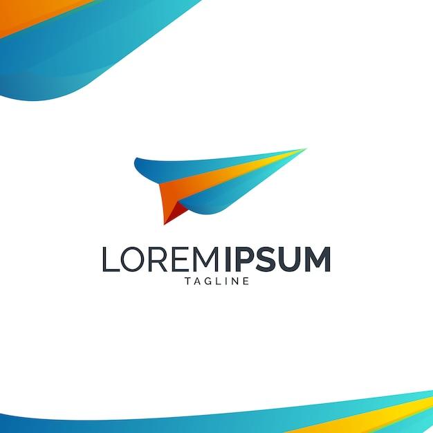 Logo D'avion En Papier Coloré Vecteur Premium