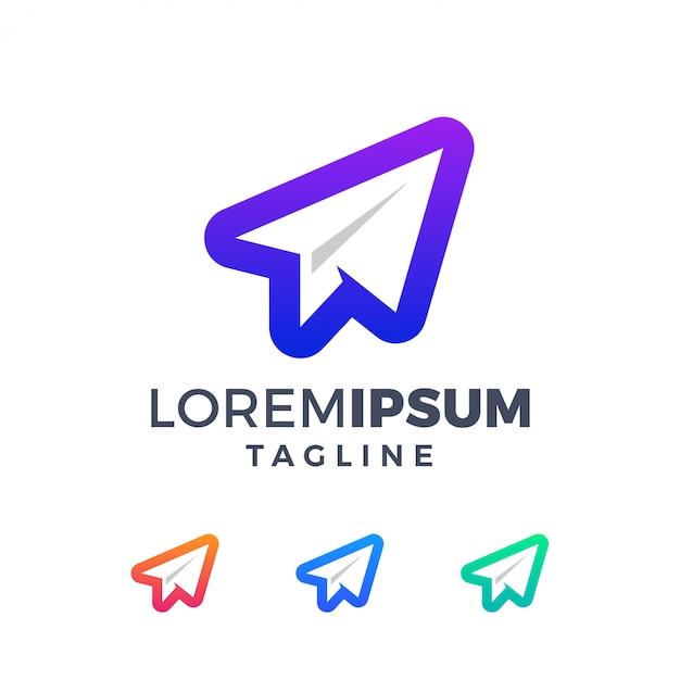 Logo De L'avion En Papier Dégradé Moderne Vecteur Premium
